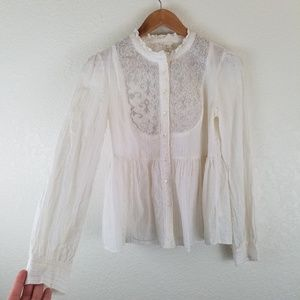 Anthropologie Floreal Ruffle Button Down Blouse A2